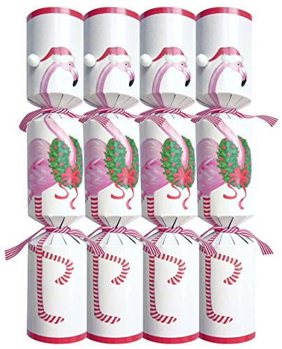 [Entertaining with Caspari Christmas Flamingo Celebration Crackers, 10-Inch, Box of 8] (Gold Christmas Crackers)