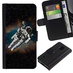 Paccase / Billetera de Cuero Caso del tirón Titular de la tarjeta Carcasa Funda para - Astronaut Cosmonaut In Space - Samsung Galaxy S5 V SM-G900