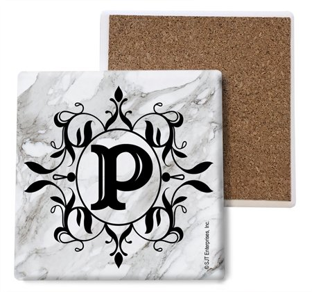 (SJT96821) Initial / Letter Marble texture Coasters -