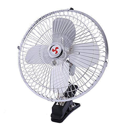 daily supplies 8 inch / 10 inchBelt clipSwing The car Fan,12V/24V Electric Automatic Cooling Fan 180° Rotating Metal Tabletop Fan for ()