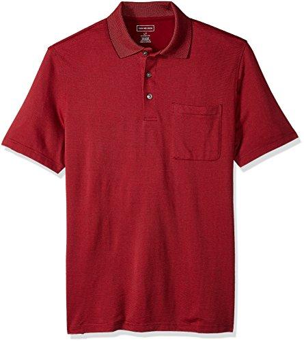- Van Heusen Men's Size Big and Tall Short Sleeve Jacquard Stripe Polo Shirt, Rhubarb, X-Large