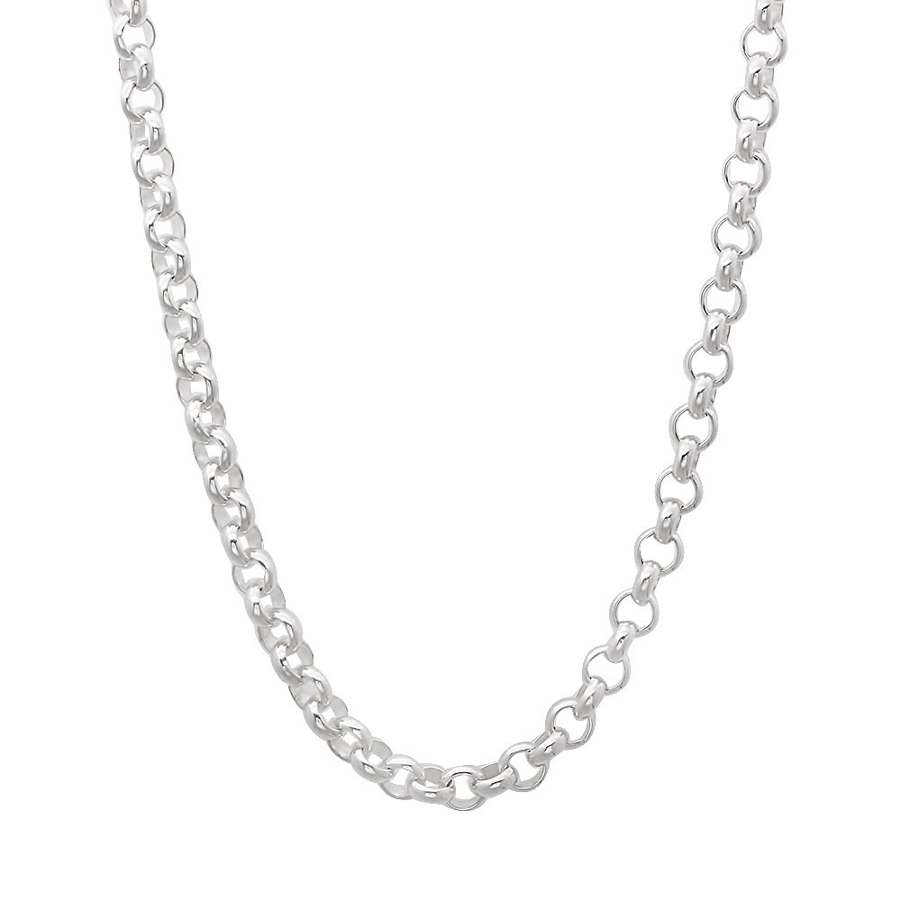 3.2mm 925 Sterling Silver Nickel-Free Rolo Cable Link Chain - Made in Italy + Jewelry Polishing Cloth The Bling Factory
