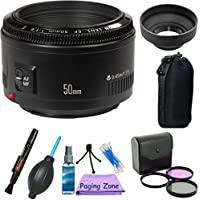 Canon EF 50mm f/1.8 II Standard AutoFocus Lens PagingZone Bundle Kit + Deluxe Case + U.V Filter Kit + Paging Zone Cleaning Kit + 6pc Bundle