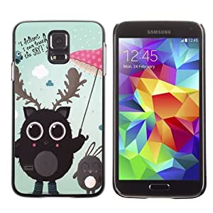 Licase Hard Protective Case Skin Cover for Samsung Galaxy S5 - Cute Creatures Illustration