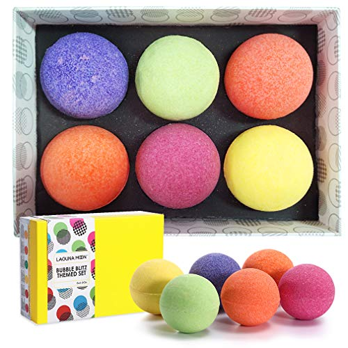 Lagunamoon Bath Bombs Gift Set,6 XL Natural Fizzy Handmade with Organic Essential Oils,Sea Salt,Shea Butter & Coconut Oil to Moisturize Skin,Relaxing Spa,Perfect Gift for Women & Kids
