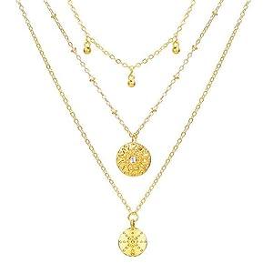 Women's retro simple multilayer disc pendant necklace golden alloy clavicle chain