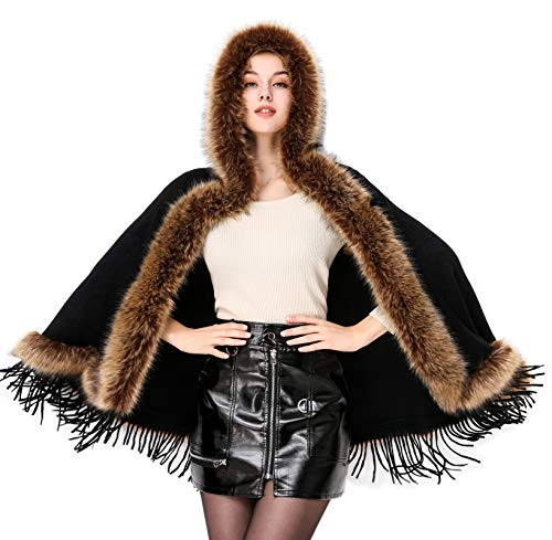 Faux Fur Shawl Hooded Cape Wrap Stole Shrug Bridal Winter Wedding with Hook Black