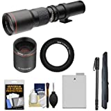 Vivitar 500mm f/8.0 Telephoto Lens with 2x Teleconverter (=1000mm) + LP-E8 Battery + Monopod Kit for Canon EOS Rebel T3i, T4i, T5i Camera