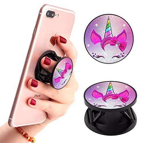 - Multi-Functional Pink Girly Unicorn Cell Phone Finger Foldable Expanding Stand Holder Kickstand Hand Grip Car Mount Hooks Widely Compatible with Almost All Phones/Cases