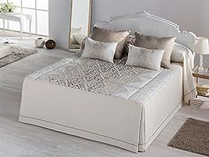 Colcha edredon bellini cama 150 cm oro hogar for Colcha blanca cama 150
