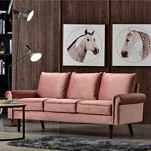 Ovios High Back Futon,74 inch Tufted Fabric Couch,Spring Upholstered Sofa for Living Room Pink