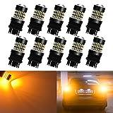 KaTur 10pcs 900 Lumens 3047 3057 3057A 3155 3157 Base Super Bright 3014 78SMD Lens LED Bulbs Brake Turn Signal Tail Backup Reverse Brake Light Lamp Amber 12V-24V