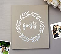 "Rustic Wedding Guest Book Alternative. Softcover Flat-Lay 8.5""x7"", 65 Sheets (130 pgs) Polaroid Guest Book for Rustic Wedding, Holiday House Guest Book Wedding Polaroid Guestbook (Kraft)"
