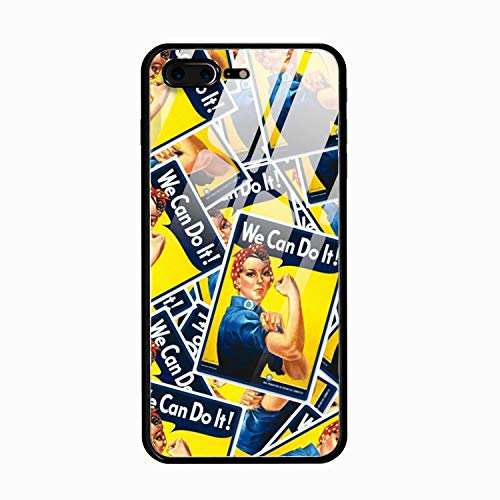 - iPhone 8 Plus Case,iPhone 7 Plus Case,Rosie The Riveter Tempered Glass Hard Shell TPU Soft Bumper Slim Shockproof Full Protective Cover for Women Men