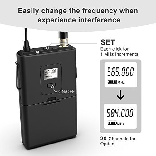 fifine wireless microphone system wireless microphone set with headset and lavalier lapel mics. Black Bedroom Furniture Sets. Home Design Ideas