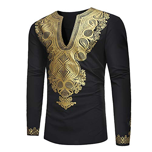 Sunhusing Men's Casual African Style Gold Ethnic Print Long