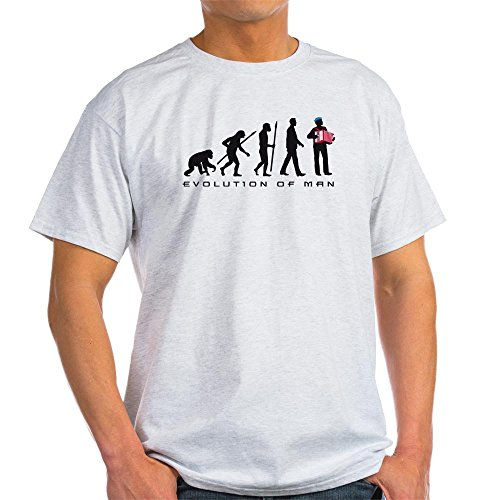 CafePress Evolution of Man Accordion Player T-Shirt 100% Cotton T-Shirt Ash Grey - Evolution Ash Grey T-shirt