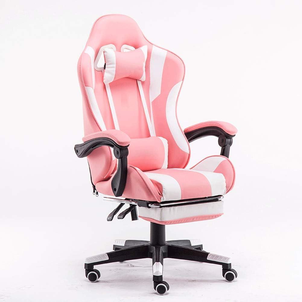Silla para computadora, silla de juego para el hogar, silla reclinable para pies perezosos, silla de anclaje, barra de internet, silla atlética-Pink
