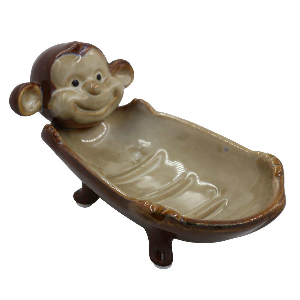 simpletome Soap Holder Ceramic Handmade Animal Series for Home Decoration (Monkey)