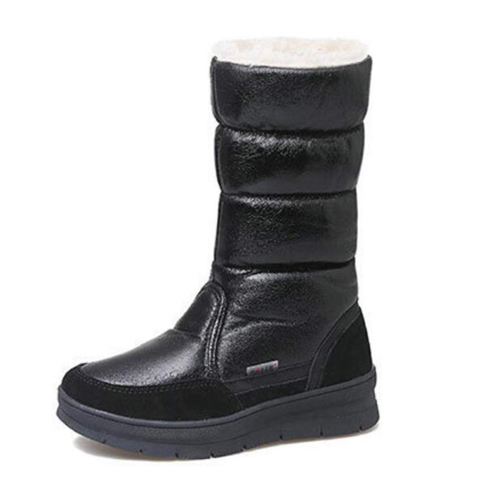 QZX schuhe Damen Schneestiefel Winterschuhe, Warm Gefüttert Rutschfest Kurz Stiefel Stiefel Kurz Kind Schneeschuhe Outdoor Freizeitschuhe Weich und Bequem für Baumwollschuhe,schwarz,EU40 UK7 b03271