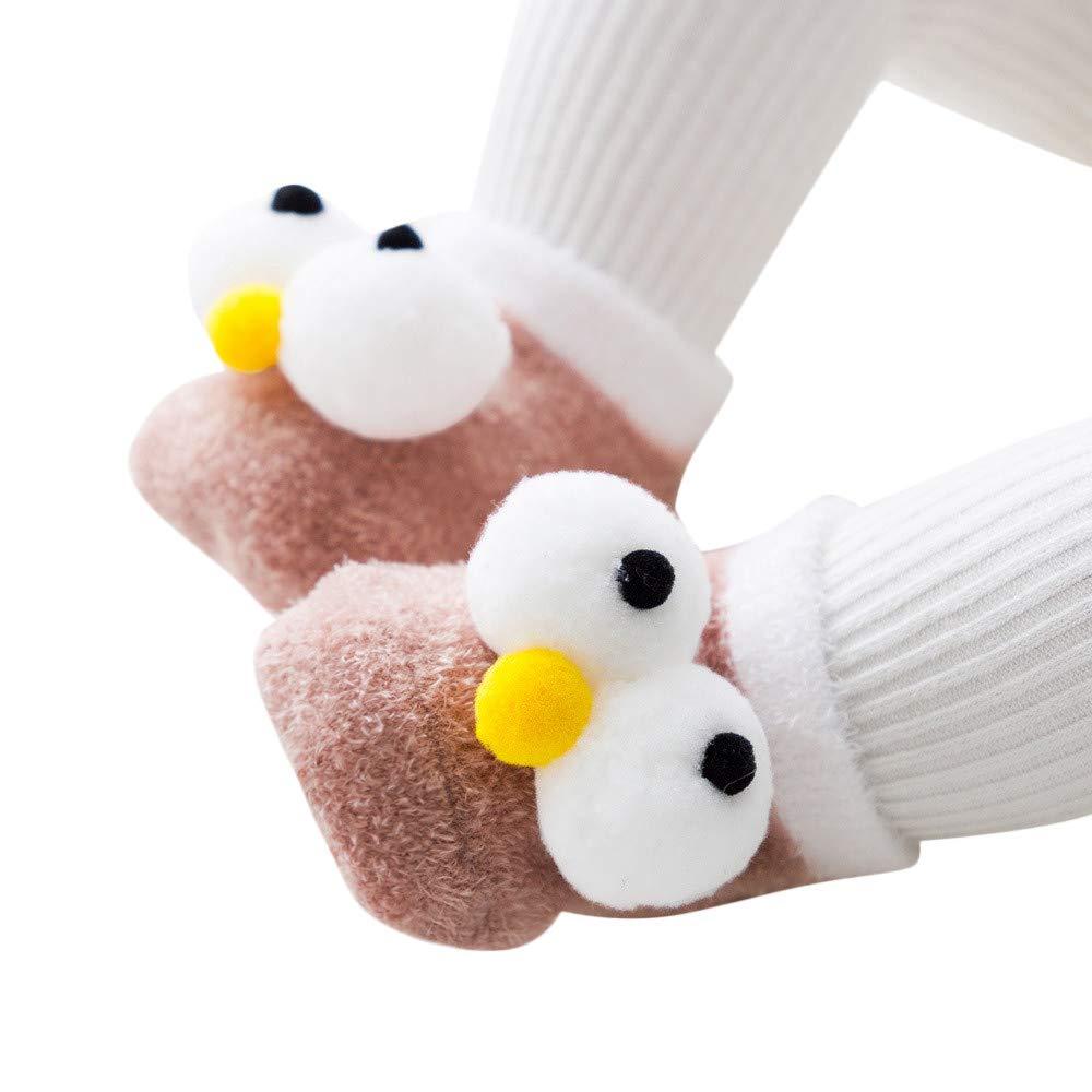Hattfart Kids Boy Girl Cartoon Eyes Slipper Soft Warm Winter Plush Fluffy Non-Skid Indoor Slipper Shoes Boot Socks