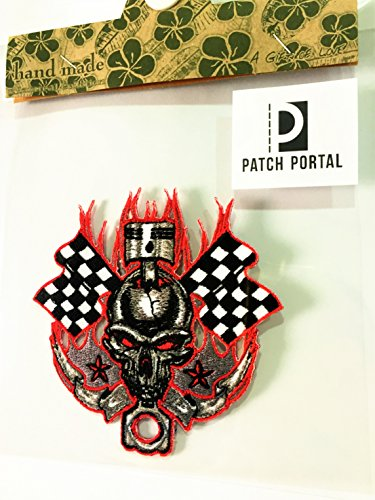 4 Inches Red Flame Skull Checkered Flag Hell Fire Racing Star Piston Emblem Patches Biker Rocker Motorcycle Race MC Club Embroidered Sew Iron on Embroidery Applique for Shirt Jeans Jacket Backpacks