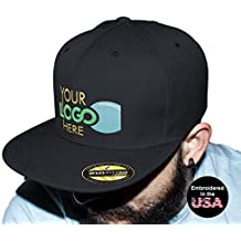 UNAMEIT Personalized Flexfit 210 Cap. Custom Logo Hat. Embroidered. Fitted Flat Bill