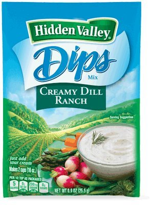 Hidden Valley Dips Mix Creamy Dill .9 oz Packets (Pack of 6)