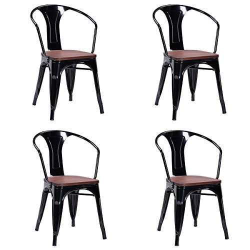 Costway Tolix Style Dining Chairs Industrial Metal Stackable Armrest Chairs Bistro Metal Wood St ...