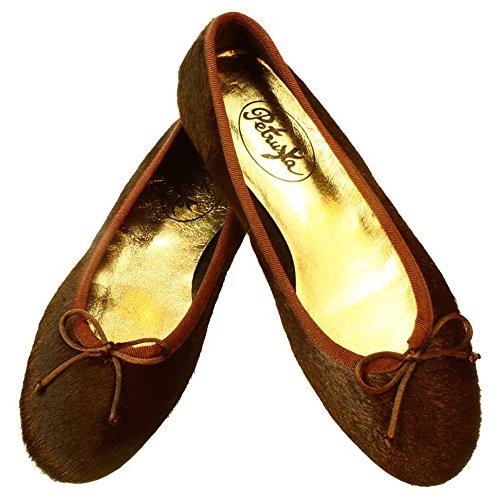 Ballerinas Samara - Ballerina Schuhe aus Fell in Schokoladen-Braun