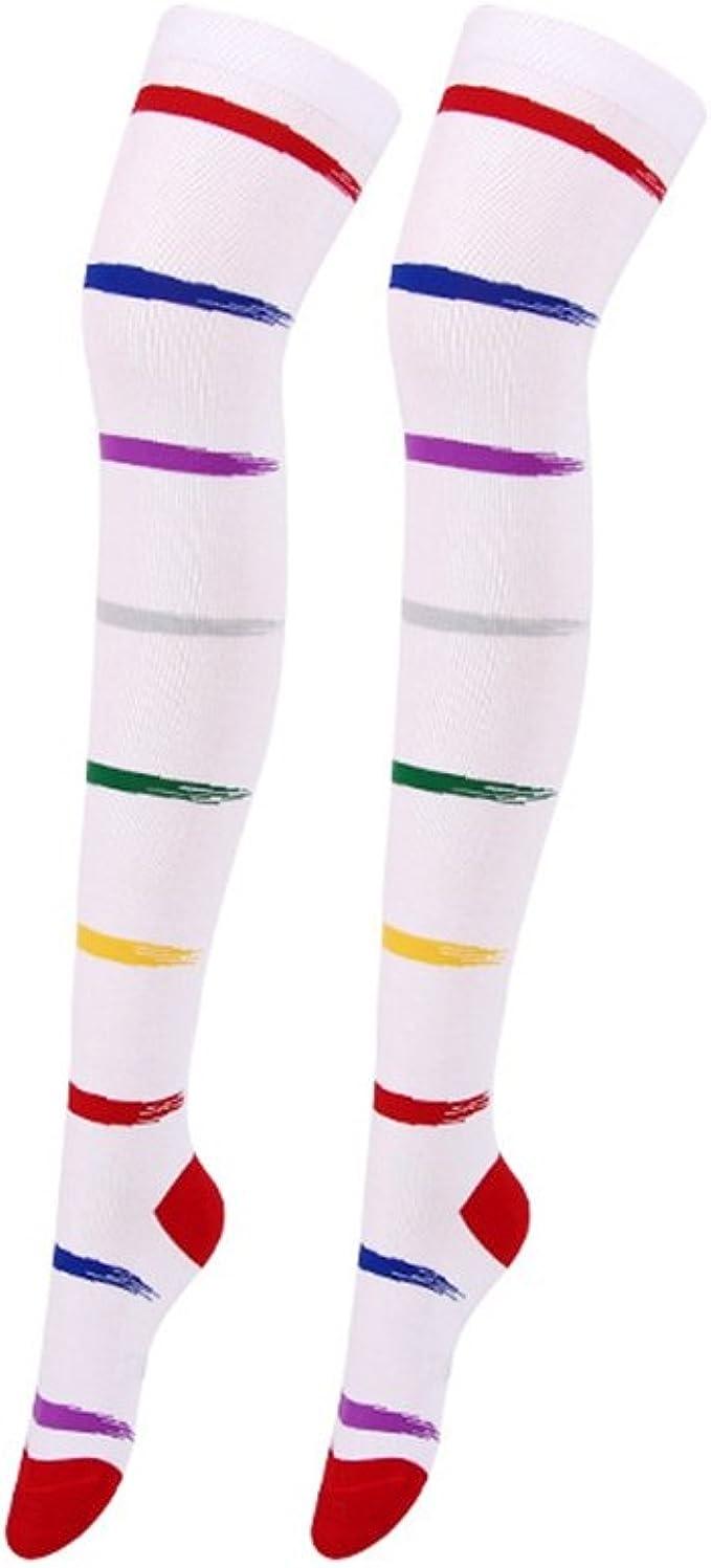 Yuanu Mujer Calcetines Hasta la Rodilla Medias 8 Colores Rayas ...
