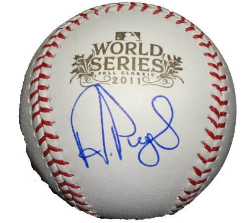 Albert Pujols Autographed Official 2011 World Series Baseball W/PROOF, Picture of Albert Signing For Us, St. Louis Cardinals, Los Angeles Angels of Anaheim, 2011 World Series Champions, 2006 World Series Champions, (Mlb 2006 World Series Baseball)