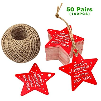G2PLUS 100 PCS Star Shaped Christmas Gift Tags with String, Merry Christmas Paper Hang Tags with 100 Feet Natural Jute Twine (Red)