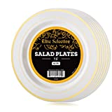 Elite Selection Pack Of 50 Salad / Desert Disposable Plastic Plates Ivory ...