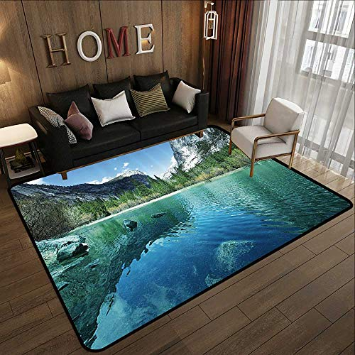 Contemporary Indoor Area Rugs,Country Decor Collection,Mirror Lake in Yosemite Scenic Picture with Mountains Lakeside Trees Waterscape,Turquoise Blue 78.7