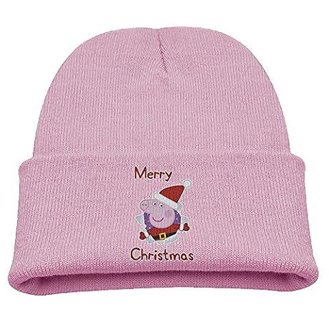 Peppa Pig Christmas Hat Children Soft Pink Skull Hat Beanies Cap - Pink Pig Hat