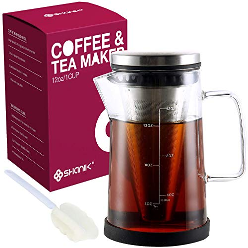 Hot Brew Coffee Maker/Tea Infuser Pitcher – Glass Coffee Tea Brewer Makes the Perfect Cup of Coffee or Tea. 12oz With a Cone Filter to Perfectly Brew Hot Beverages