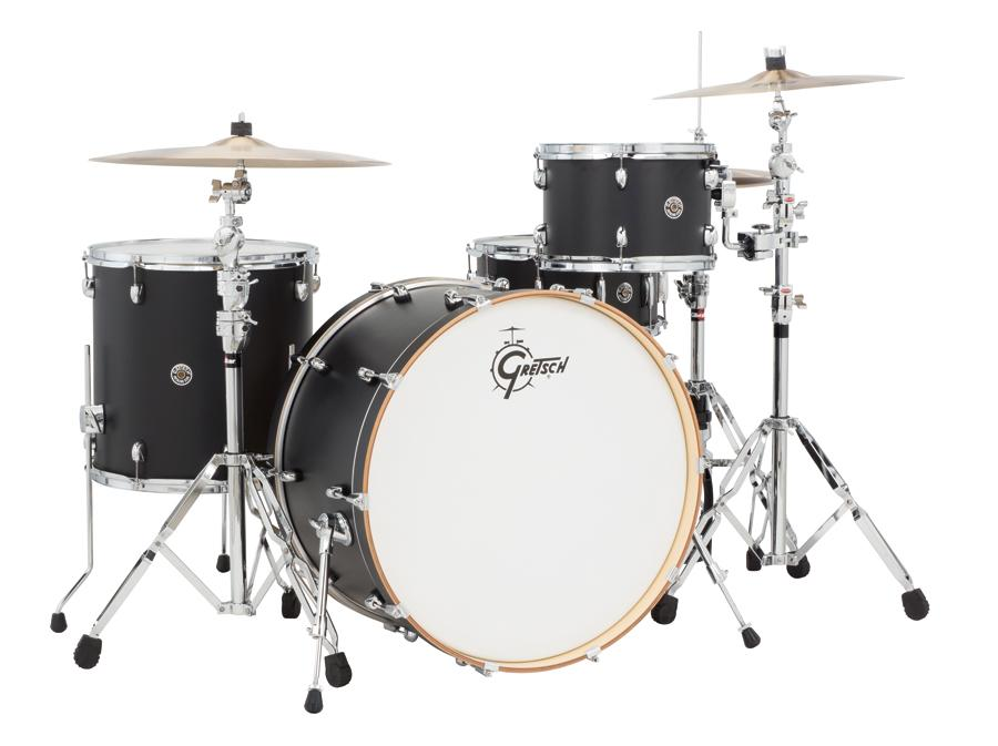 gretsch drums catalina club ct1 r444 fb 4 piece drum shell pack flat black musical. Black Bedroom Furniture Sets. Home Design Ideas