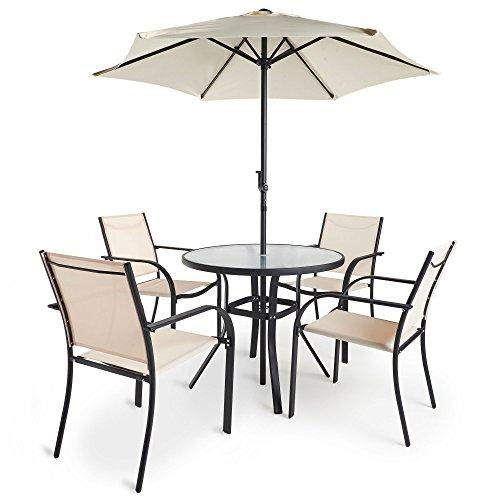 Vonhaus 6 Piece Patio Dining Set 4 Seater Outdoor Garden Furniture