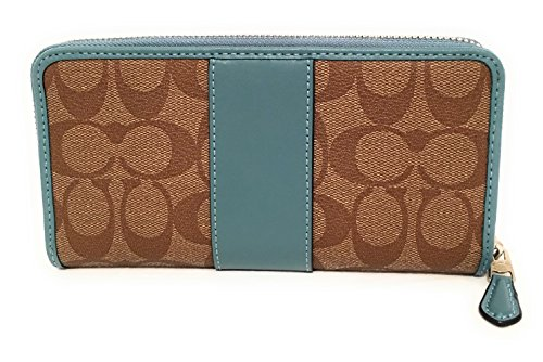 Signature PVC Wallet Accordion Cyan Khaki Around Zip Coach 1wZqxT8U8