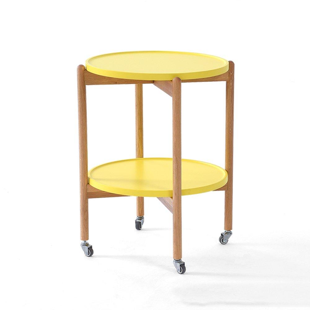 ナイトテーブル ソリッドウッドは丸テーブルを動かすことができます小さな丸テーブルリビングルームソファサイドテーブルベッドサイドキャビネット (色 : イエロー いえろ゜) B07FBJGHFS イエロー いえろ゜ イエロー いえろ゜