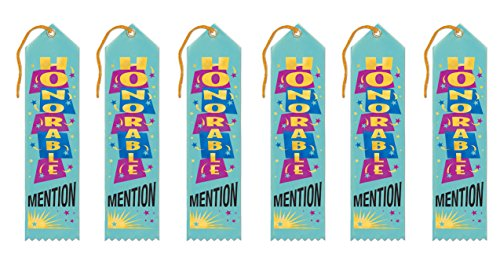 """Beistle AR074 Honorable Mention Award Ribbon, 2"""" x 8"""", 6 Award Ribbons In Package"""