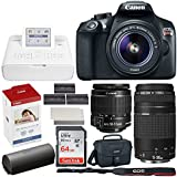Canon EOS Rebel T6 Digital SLR Camera + EF-S 18-55mm & EF 75-300mm Lens + 32GB Memory Card + Canon SELPHY CP1300 Photo Printer (White) + Canon KP-108IN Color Ink and Paper Set + Extra Printer Battery