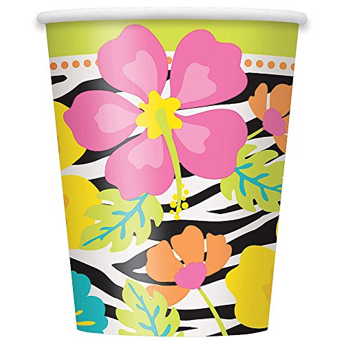 9oz Wild Luau Party Cups, - Tropical Drink Cups