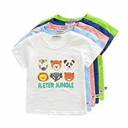 Owone Box 5-Pack Baby Boys(18Months to 8 Years) Cartoon Print Short Sleeve T Shirt