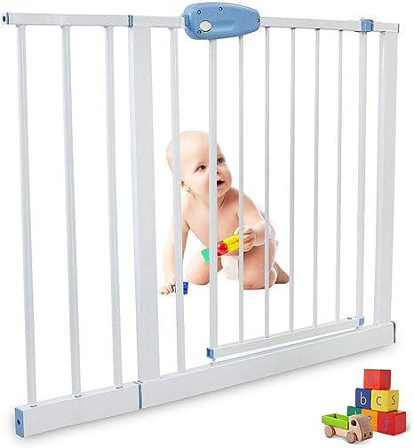 Leogreen - Puerta de Seguridad para Niños Perros Escaleras Barrera de Seguridad de metal, Extensible de 102 cm a 115 cm: Amazon.es: Bebé