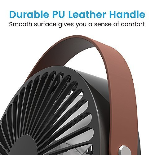 Cambond USB Desk Fan, Small Personal Fan Quiet Office Desktop Fan Easy to Clean Mini Table Fan Powerful Portable Fan with PU Leather Handle for Office Home Work Desk, Small Room, Bedroom, Black by Cambond (Image #3)