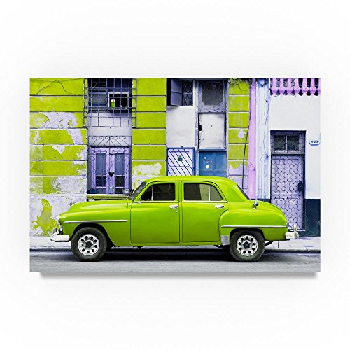 Lime Green Classic American Car 1 by Philippe Hugonnard, 22x32-Inch Canvas Wall Art (American Classic Lime Green)