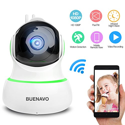 Complete Bluetooth Set - [UPGRADED] BUENAVO 360° Home Wireless IP Camera 1080P HD, Two Way Talk Smart Indoor Security Surveillance Camera for Baby/ Elder/ Pet Nanny Monitor, Infrared Night Vision, Motion Detection