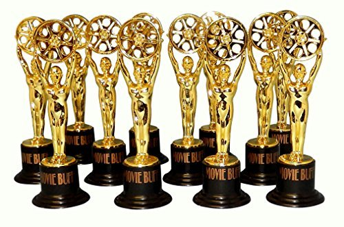 12 Movie Buff Gold Statues for Hollywood Movie Awards Parties Decoration